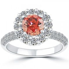 2.35 Carat Fancy Pink Diamond Engagement Ring 18k White Gold Pave Halo  #Rings #Jewelry #Diamondrings | For more beautiful rings see:         http://www.engagement-rings-specialists.com/Diamond-Engagement-Rings.html