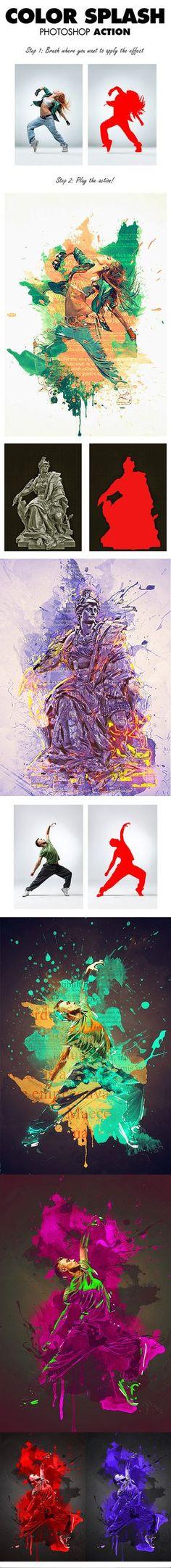 18-Color Splash Photoshop Action
