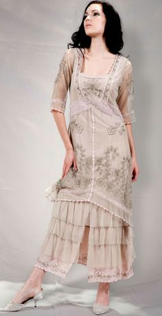 AL-2101 Titanic Tea Length Dress in Sage/Lavender