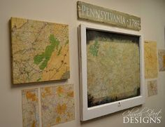Great way to display the ski maps- how to wrap a map around canvas for $5!
