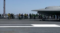 U.S. Navy X-47B UCAS-D First Touch & Go Landing Tests | USS George H.W. ...