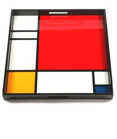 """Modern Art Collectors Limited Edition, Piet Mondrian Art 22"""" Ottoman Tray, so cool, inspire your friends and followers interested in luxury interior design, with new trending accents from Hollywood courtesy of InStyle Decor Beverly Hills, Luxury Designer Furniture, Lighting, Mirrors, Home Decor & Gifts, over 3,500 inspirations to choose from and share with our simple one click Pinterest Pin button enjoy & happy pinning"""