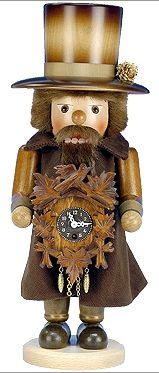 """Christian Ulbricht Nutcracker - Clockmaker in natural wood finish. Clock actually works! 24 hour key wound movement.    Made in Germany   Size: 17""""    I REALLY NEED this one!"""