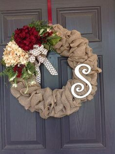 Front Door Spring/Summer, All season Burlap hydrangea wreath with Momogram - Burlap wreath that is approximately 22 inches in diameter, embellished with your choice of hydrange - Christmas Mesh Wreaths, Easter Wreaths, Deco Mesh Wreaths, Holiday Wreaths, Door Wreaths, Ribbon Wreaths, Floral Wreaths, Prim Christmas, Burlap Wreaths For Front Door