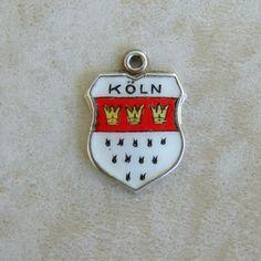 Koln Cologne Germany Enamel Travel Shield Silver REU Bracelet Charm #REU