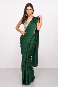Bottle Green Saree With Sequin Saree Draping Styles, Saree Styles, Bottle Green Saree, Saree Jackets, Satin Saree, Indian Silk Sarees, Sari Dress, Simple Sarees, Stylish Sarees