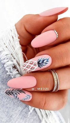 Chic Nails, Stylish Nails, Trendy Nails, Cute Acrylic Nail Designs, Pink Nail Designs, Nails Design, Short Nail Designs, Best Nail Designs, Tropical Nail Designs
