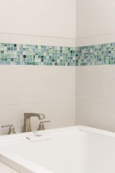White Tile Tub Surround with Blue and Green Tile Accent Wall Room Wall Tiles, Bathrooms Remodel, Bathroom Interior Design, Tile Around Tub, Tub Surround, Green Bathroom, Blue Tile Accent, Bathroom Remodel Master, Tile Tub Surround