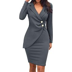 Autumn Dress for Women Office Lady Sexy Solid Turn-down Collar Long Sleeve Buttons Bodycon Work Formal Dress Blazer Dress, Dress Suits, Blazer Jacket, Coat Dress, Rain Jacket, Blazers For Women, Suits For Women, Summer Dresses For Women, Dresses For Work