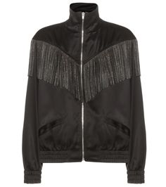 Saint Laurent - Fringed bomber jacket - Saint Laurent's coveted bomber jacket receives a boho update. The standout style is a must-have option with a fringed leather trim, adorned with dainty, silver-tone studs. The satin design is kept sporty by the black satin front and ribbed trims. We're wearing ours over a short dress for an oh-so-cool finish. seen @ www.mytheresa.com