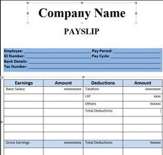 Payslip Template Format In Excel And Word Microsoft Excel Excel