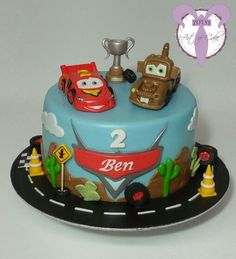 Cars cake, Lightning Mcqueen and friends Baby Boy Birthday Cake, 4th Birthday Cakes, Baby Boy Cakes, Cars Birthday Parties, Car Cakes For Boys, Lightning Mcqueen Birthday Cake, Mcqueen Cake, Paw Patrol Cake, Cute Cakes
