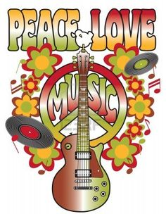 An illustration of a guitar, peace symbol and dove dedicated to the Woodstock Music and Art Fair of 1969. Stock Photo