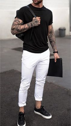 – Mr Streetwear Magazine Informations About 11 Great white pants out - Black Tshirt Outfit, Black Sneakers Outfit, Sneakers Outfit Casual, Casual Outfits, Jean Outfits, White Pants Men, White Pants Outfit Mens, White Trousers, Best Casual Shirts