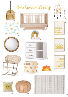 This eclectic collection of items is a nice option for a gender neutral boho sunshine nursery. Parents and baby will both love this mix of neutral colors with pops of yellow and aqua. Yellow And Pink Nursery, Baby Nursery Neutral, Boho Nursery, Nursery Room, Girl Nursery, Babies Nursery, Baby Nook, Nursery Inspiration, Design Inspiration