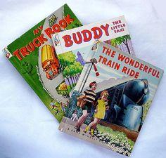 3 Vintage Elf Books My Truck Book  Wonderful Train Ride