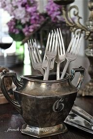 Use old teapots to hold silverware for entertaining - FRENCH COUNTRY COTTAGE: Maison Chic Magazine