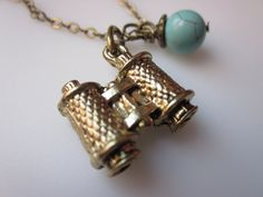 Binoculars Necklace with Blue Turquoise by lovespelljewels on Etsy, $7.50