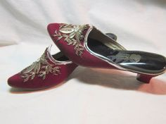 Maroon Elaborate Silver Asian Embroidered by DiscriminatingDames, $86.25