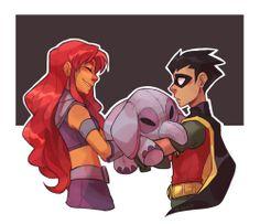 Robin Starfire, Teen Titans Starfire, Nightwing And Starfire, Teen Titans Love, Teen Titans Robin, Original Teen Titans, Teen Titans Fanart, Beast Boy, Old Circus