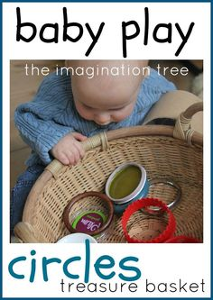 Baby treasure basket with circular objects (and links to more treasure basket ideas for babies!)