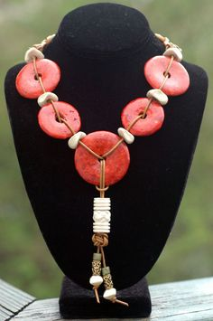 Designer Coral Donut and Leather Tassel Necklace | XO Gallery