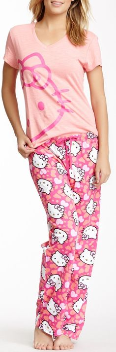610372950 Hello Kitty V-Neck Tee Pant Set I so want these with the hello kitty  earrings i saw