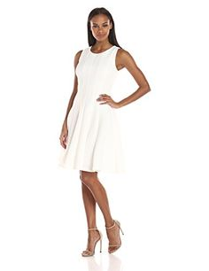 Calvin Klein Womens FitAndFlare Novelti Scuba Dress White 4 >>> Check out this great product.(This is an Amazon affiliate link and I receive a commission for the sales)