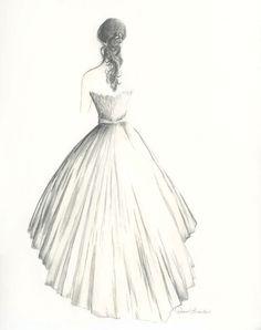 Custom drawing of a bride in her wedding dress by Diane Bronstein