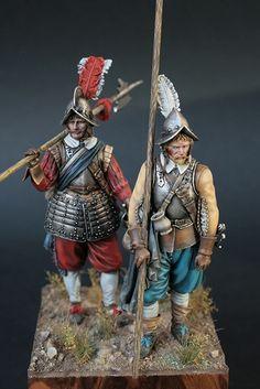 Pikeman & Halberdier 1630 by Michael Volquarts · Putty&Paint Military Figures, Military Diorama, Renaissance, Landsknecht, Medieval Life, Miniature Figurines, Toy Soldiers, 17th Century, Concept Art