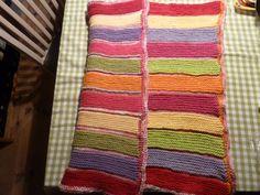 Babytæppe, - bomuld på den ene side og merinould i samme farve på den anden side. Besværligt - men såå blødt! Cotton one side - wool the other, same color !