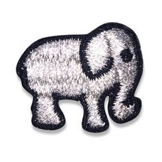 "Our silver good luck Elephant hipstapatch™ is an embroidered patch that measures approximately 1"" x 1"" with a peel-and-stick adhesive backing. Stick it on your"