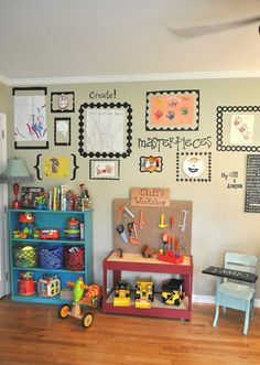 Playroom - love the frame for children's art and work