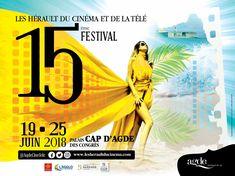 Affiche 2018 du Festival Les Hérault du Cinéma et de la Télé - 19 au 25 juin 2018 Le Cap d'Agde