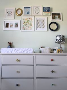 Gallery wall over changing table - #nursery