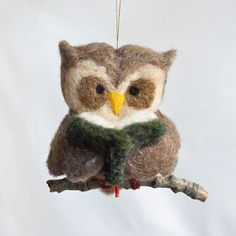 Needle Felted Owl Ornament  Reading by scratchcraft