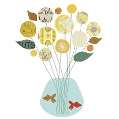 'Flowers and a Fishbowl' vintage yellow wallpaper graphic design.