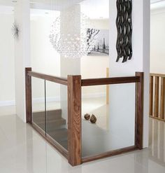 Glass balustrade with black walnut hand and base rail