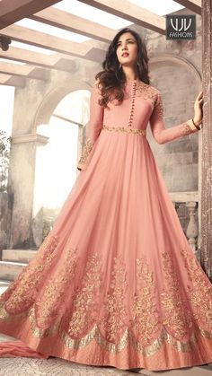 Sonal Chauhan Pink Color Net Designer Anarkali Suit latest designer silk punjabi, party wear georgette salwar suit, and in all fabrics available at VJV Indian Gowns Dresses, Indian Fashion Dresses, Abaya Fashion, Pakistani Dresses, Indian Outfits, Flapper Dresses, Emo Fashion, Eid Dresses, Style Fashion