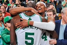 Paul Pierce of the Boston Celtics hugs teammate Kevin Garnett after their triple overtime victory against the Denver Nuggets on February 10, 2013 at the TD Garden in Boston, Massachusetts. (Photo by Steve Babineau/NBAE via Getty Images)