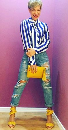 Pretty Blue And White Stripes Button Down Shirt, Distressed Jeans, Yellow High Heel Sandals And Purse - perfect Spring outfit Casual Summer Outfits, Fall Outfits, Cute Outfits, Fashion Outfits, Womens Fashion, Outfit Summer, Fashion Models, Fashion 2018, Fashion Trends