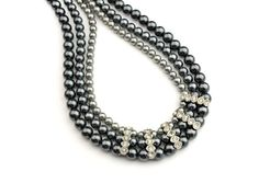 Rhinestone and Blue Faux Pearl Necklace  1950s by ClassiqueStyle, $22.00