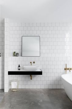 A concrete bathroom floor may feel like a bold choice — but in many homes, it's the right one. So grab your checkbook: These 10 photos are picture-perfect proof that it's time for a small bathroom reno. Bathroom Concrete Floor, White Bathroom Tiles, Bathroom Renos, Concrete Floors, Bathroom Cabinets, Bathroom Vanities, Master Bathroom, White Tiles, Concrete Shower