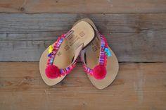 Girls Flip Flops/Pom pom  Boho Sandals/ Girls by magosisters