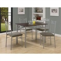5-Piece Dining Set in Silver Metal with Cappuccino Table Top- Free Shipping