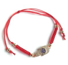 20% Off only today Coupon code: BLACKSFM Evil Eye Hamsa Hand Cubic Zirconia Red String Adjustable #Women #Bracelet #red #SmallBizSat #ShopSmall