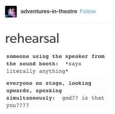 19 Jokes That Only True Theatre Nerds Will Understand - Jokes - Funny memes - - These jokes deserve a standing ovation. The post 19 Jokes That Only True Theatre Nerds Will Understand appeared first on Gag Dad. Theatre Jokes, Theatre Problems, Theatre Nerds, Music Theater, Broadway Theatre, Musicals Broadway, Kid Memes, Funny Memes, Funny Videos