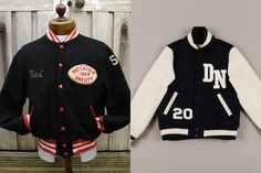 In the early 1900s the Varsity Jacket was inspired by letter sweaters at Ivy League schools. High school and college students earned embroidered letters to represent their school and their various athletic, academic, and extra curricular achievements.  The jackets usually featured a boiled wool body, leather arms in the school's colors, ribbing on the cuffs and waistband, and would have a letter sewn onto the jacket to represent the school.  Brands to look for: Dehen, Golden Bear, Flat Head