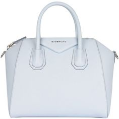 Givenchy Leather Antigona small bag found on Polyvore featuring bags, handbags, givenchy, light blue, leather purse, givenchy purse, light blue leather handbag, givenchy handbags and real leather purses