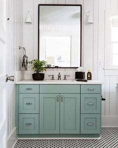 2 050 Likes 18 Comments Susanna T Coastalhamptonstyle On Instagram Loving This Minty Aqua Green Cabinet The Black Framed Mirror Compliments